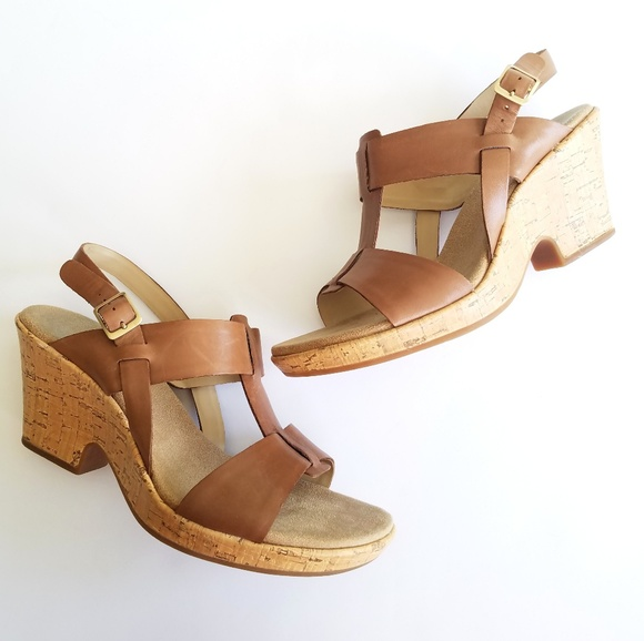 194df38a1a Clarks Shoes | Brown Strappy Cork Wedge Heel Sandals | Poshmark